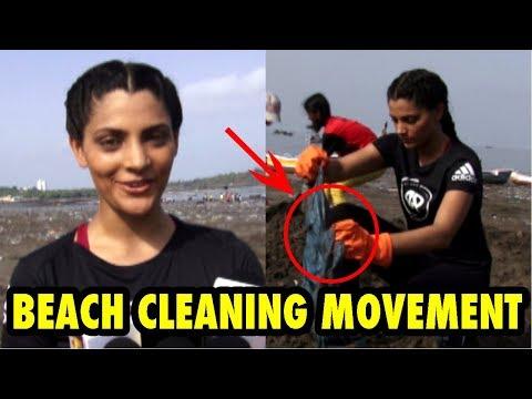 Actress Saiyami Kher At  Beach Cleaning Movement With Running Athletes And Actors