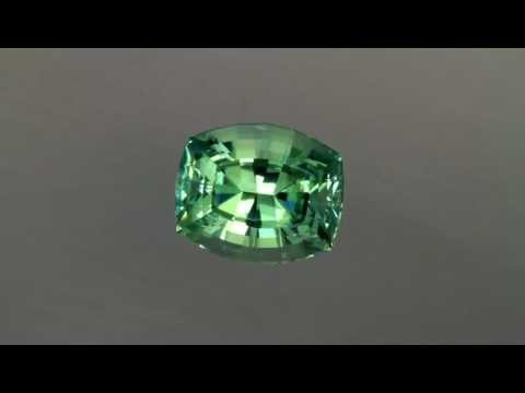 Prasiolite in A Stepped Antique Cushion Cut Weighs 13.43 Carats