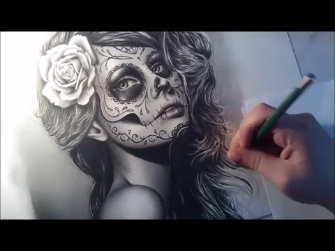 Sugar Skull Girl Portrait Speed Drawing - Semi Realistic Tattoo Design Portrait