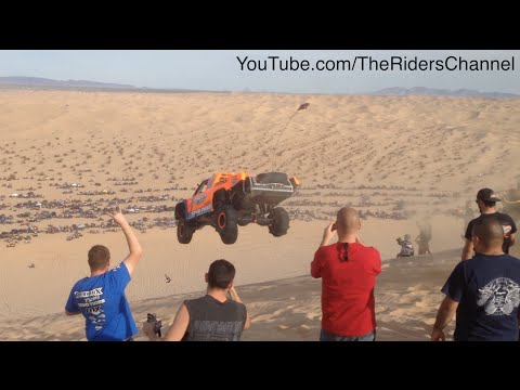 Robby Gordon, Bj Baldwin, and Craig Potts Launching Oldsmobile Hill in Glamis Dunes, CA.