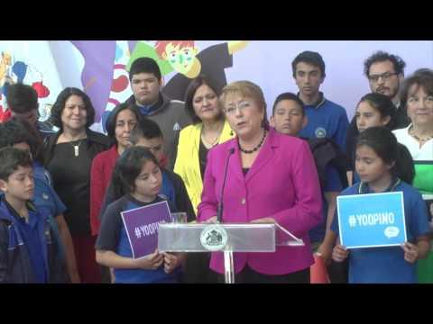 Presidenta Michelle Bachelet lanzó en Huechuraba programa participación ciudadana infantil