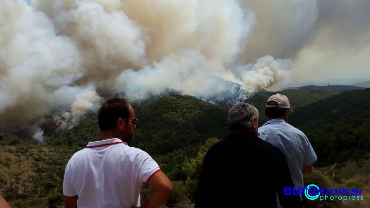 Μεγάλη πυρκαγιά σε δασική έκταση στα Δερβενοχώρια