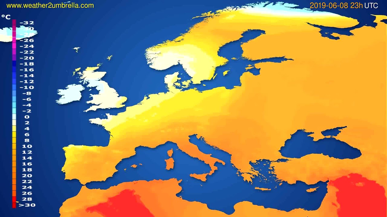 Temperature forecast Europe // modelrun: 12h UTC 2019-06-05