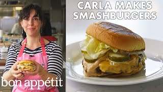 Video Carla Makes BA Smashburgers | From the Test Kitchen | Bon Appétit MP3, 3GP, MP4, WEBM, AVI, FLV Agustus 2018