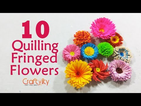 DIY 10 Quilling Fringed flowers  quilling flowers  how to make fringed flower in quilling