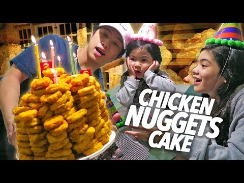 Chicken Nuggets Cake Birthday Surprise!! | Ranz and Niana