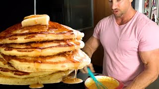 Today we're in the kitchen making protein pancakes! Follow along as Troy gives you his delicious muscle-building pancake recipe.Subscribe for new videos every week ➜ https://goo.gl/MYXFq0Below you'll find the complete recipe so you can make these yourself...This is the perfect mass building breakfast for guys who are trying to gain weight.Complete Protein Pancake Recipe:- 3 Sweet Potatoes- 8 Tbsp Oatmeal- 2 Tbsp Coconut Flour- 3 Scoops Protein Powder (75g. protein)- 3 Whole Eggs- 1/2 Cup Liquid Egg Whites- Stevia (to taste)- Vanilla Extract (to taste)- Cinnamon (to taste)- 2 Tbsp PB2HOLD UP! Don't just copy this recipe, make sure you watch the full video so you don't screw up your pancakes like I did the first time I made them!Check out more muscle-building recipe videos here:https://www.youtube.com/watch?v=F4Oi-6tZKcg&list=PL38EEB3E7602DB971&index=6Do you like these cooking videos? Let us know by giving this video a thumbs up, and let us know in the comments below what you'd like to see next!Click here to subscribe:► https://goo.gl/MYXFq0The 7 Hardgainer Mistakes That Are Keeping You Skinny:★ http://www.weightgainblueprint.com/view/yt15jComplete Weight Gain Program:★ http://www.WeightGainBlueprint.com--