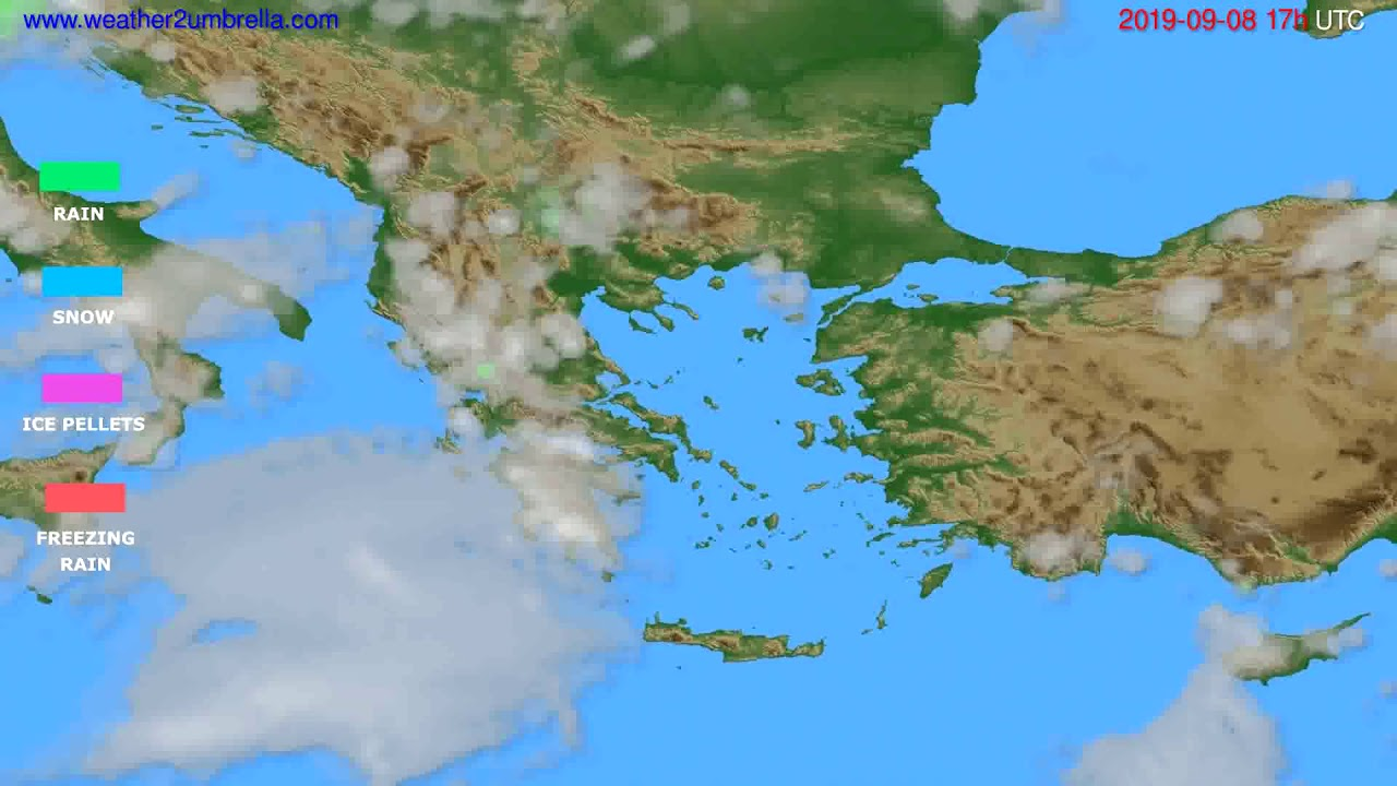 Precipitation forecast Greece // modelrun: 00h UTC 2019-09-07