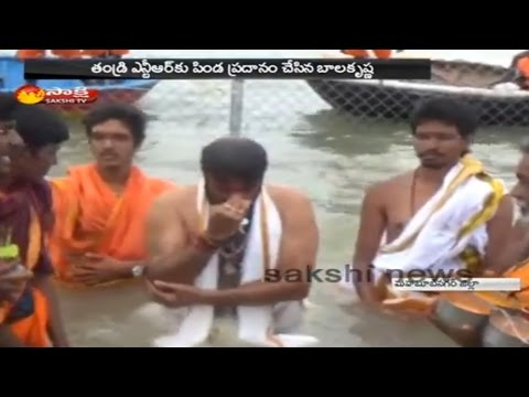 Balakrishna Takes Holy Dip at Somasheela Ghat || Krishna Pushkaralu 2016