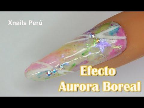 Uñas acrilicas - Uñas Efecto AURORA BOREAL / Xnails Peru