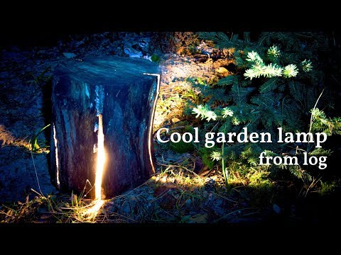 How to make cool looking cracked log garden lamp (diy project)
