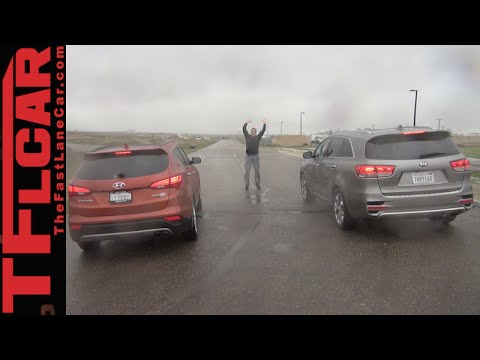 2016 Kia Sorento vs. Hyundai Santa Fe Mashup Drag Race Review