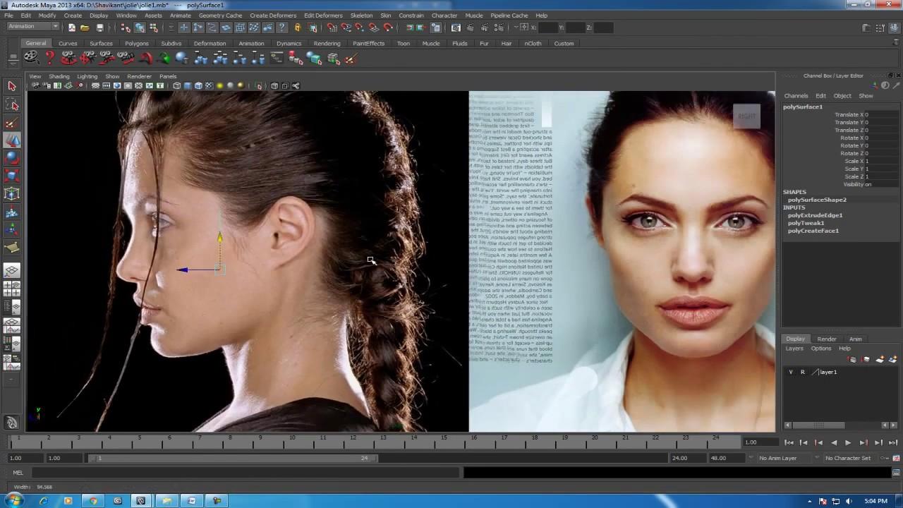 modeling 3d female face maya tutorial