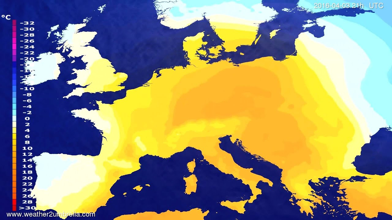 Temperature forecast Europe 2016-03-31