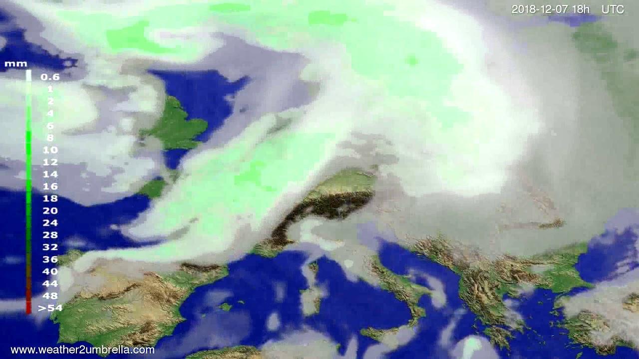 Precipitation forecast Europe 2018-12-04