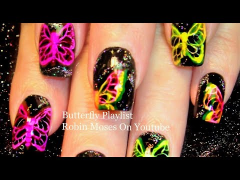 Neon Butterfly  X-ray Nail Art