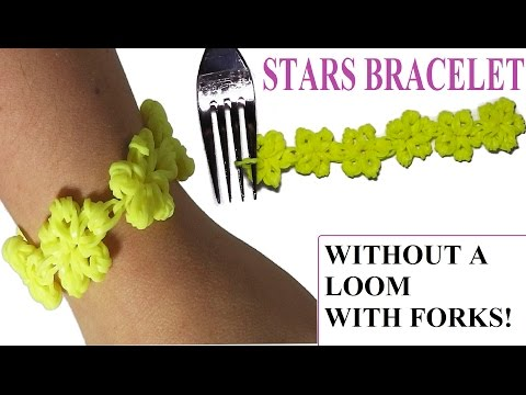 NEW! HOW TO MAKE STARS BRACELET WITH 2 FORKS. WITHOUT RAINBOW LOOM. RUBBER BANDS BRACELET