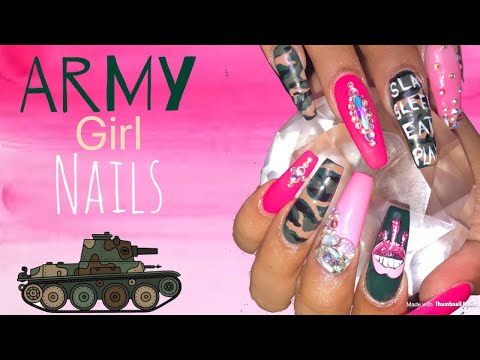 Camouflage Nails Tutorial  Acrylic Nails Design Tutorial