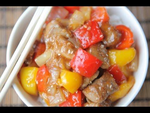 Мясо в кисло сладком соусе с ананасом по-китайски рецепт с пошагово