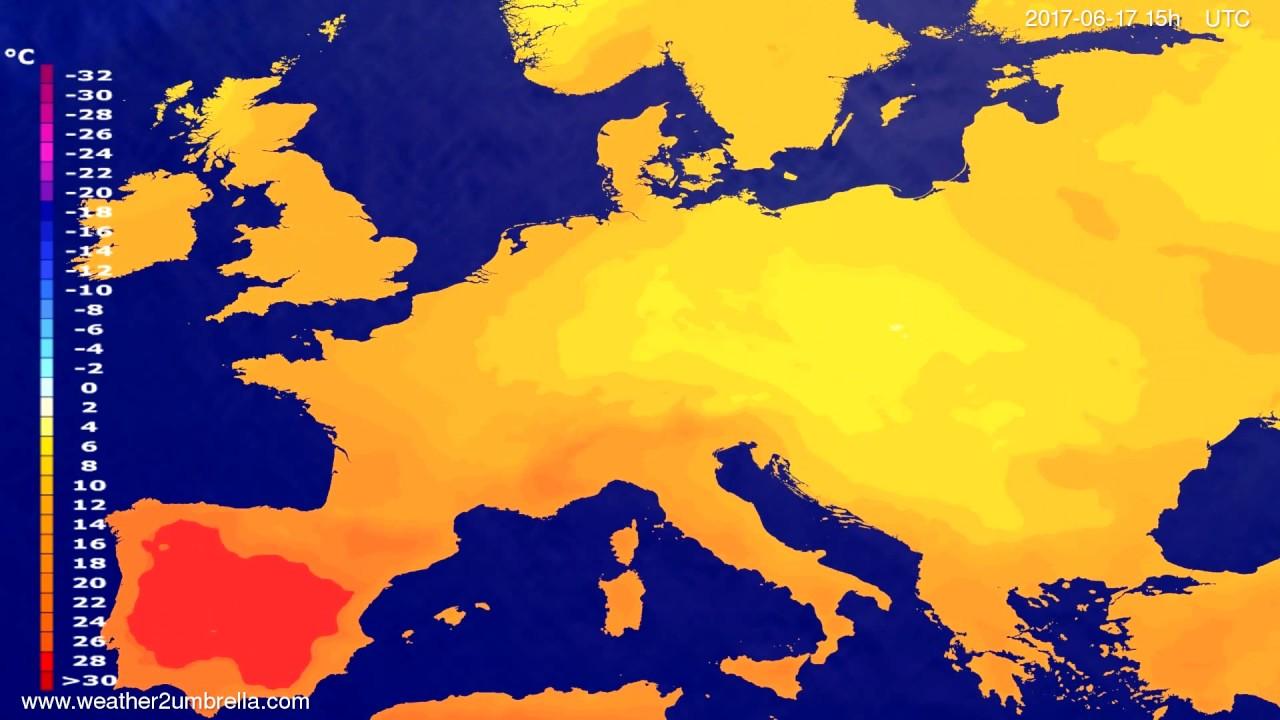 Temperature forecast Europe 2017-06-15