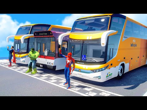 Spider-Man, Superman, Hulk With BUS - GTA V Superheroes Epic Bus Challenge (Funny Contest)