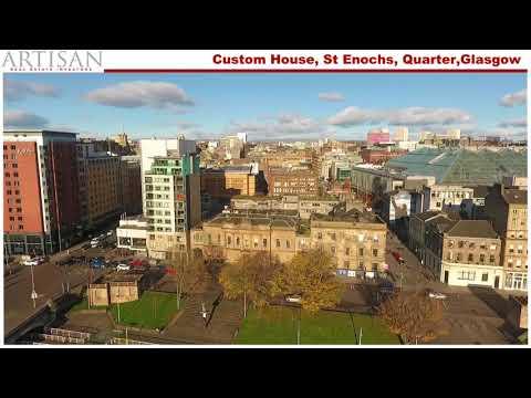 Custom House, St Enochs Quarter, Glasgow Aerial Drone Video