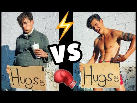 FAT GUY vs 6-PACK: Hugging Strangers! (SOCIAL EXPERIMENT)