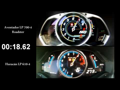 lamborghini huracan vs aventador 0 300 km h race. Black Bedroom Furniture Sets. Home Design Ideas