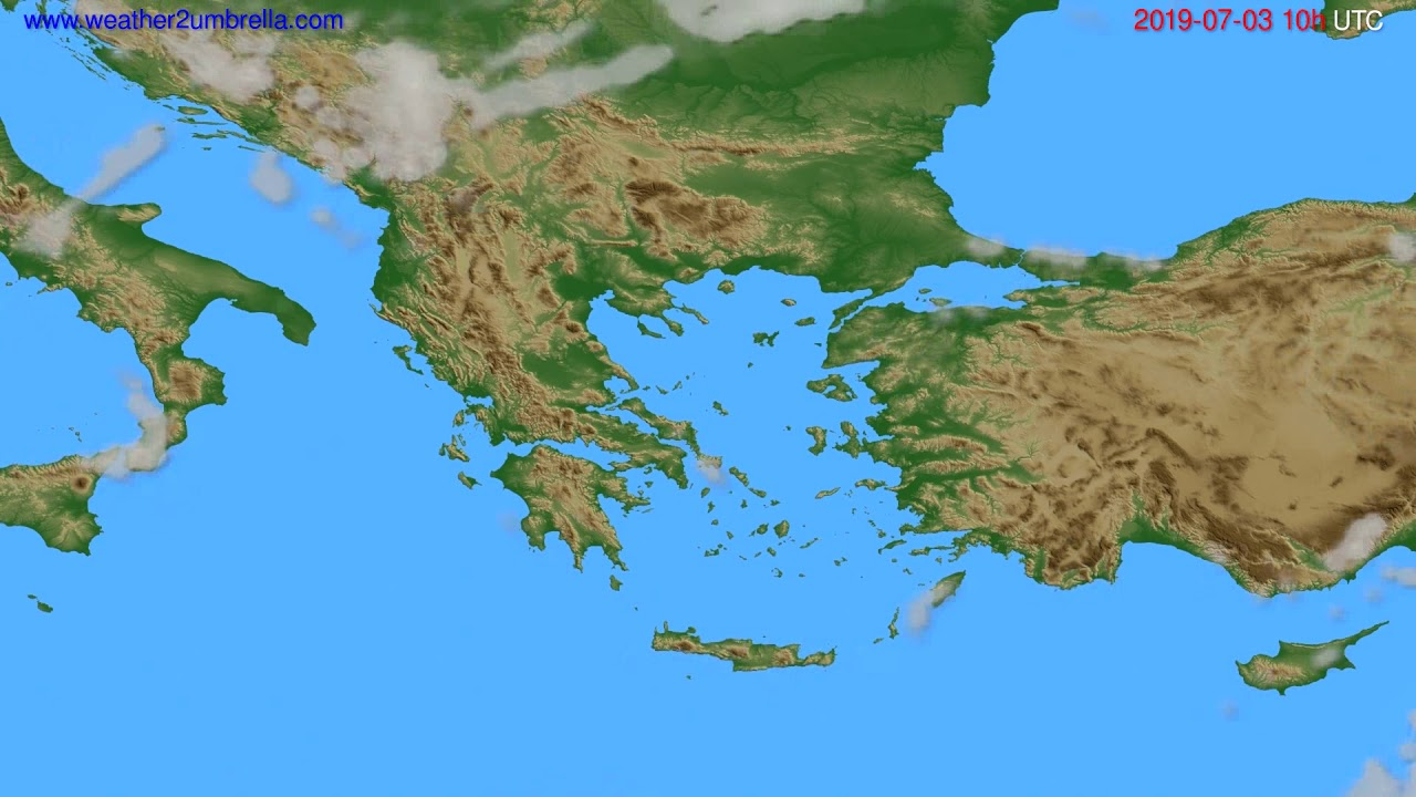 Cloud forecast Greece // modelrun: 00h UTC 2019-07-01