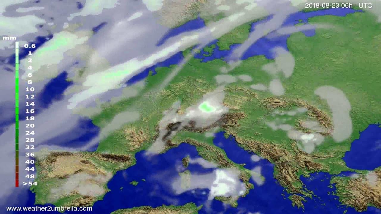 Precipitation forecast Europe 2018-08-20