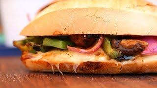 Philly Mushroom Melt Recipe | Vegetarian BBQ by The Domestic Geek