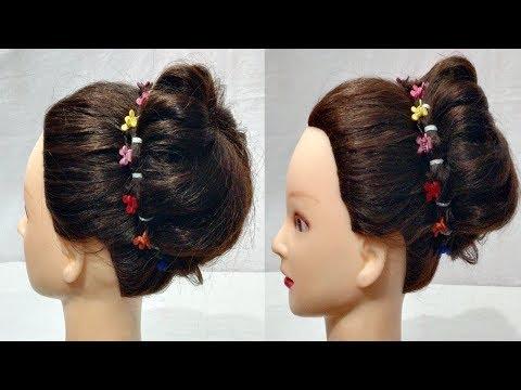 simple Flower juda hairstyles for Wedding  Party bun Hairstyles for long hair  2018 hairstyle