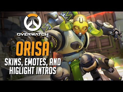 Overwatch - All Of Orisa's Skins, Emotes, And Highlight Intros