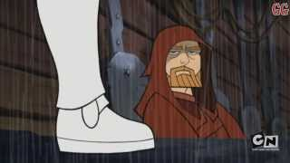 This is a Cartoon Network Micro-Mini Series from 2003-2005. It takes place in between Star Wars Episode 2 Attack of the Clones and Revenge of the SithThis is Season 3 Episode 2Episode Description: Leading the third army of the Republic, General Kenobi and Commander Skywalker blow up a shield generator on Bomis Korri IV. Meanwhile, Seperatist forces move in on Outer Rim planets such as Kashyyk, Orto and Bal'demnic. As Darth Sidious launches his final operation, Obi-Wan and Anakin are send to Nilvaan, where young Skywalker disrupts a young native's right of passage by defeating a giant Horax.