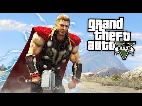 GTA 5 Mods - THOR MOD w/ THOR'S HAMMER & POWERS!! GTA 5 Thor Mod Gameplay! (GTA 5 Mods Gameplay) (видео)