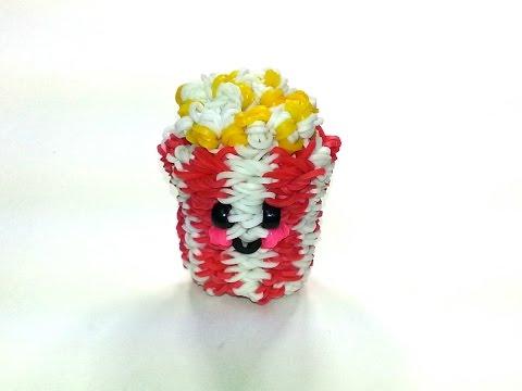 3-D Happy Popcorn Tutorial by feelinspiffy (Rainbow Loom)