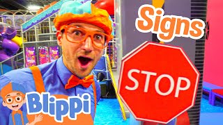 Video Blippi Plays at the Indoor Play Place | Learn Street Signs for Kids MP3, 3GP, MP4, WEBM, AVI, FLV Februari 2019
