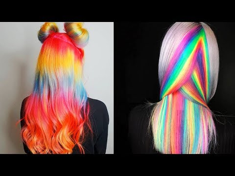 New hairstyle - New Hair Color Ideas For 2018! Amazing Rainbow Hair Color Transformation  Tutorials Compilations