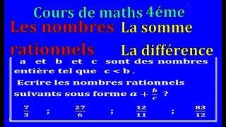 Maths 4ème - Les nombres rationnels Somme et Différence Exercice 35