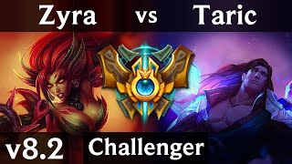 ZYRA vs TARIC (SUPPORT) | Korea Challenger | Patch 8.2