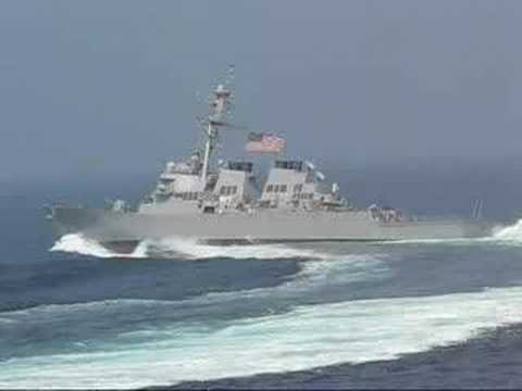 navy - Navy ship at high speed making a hard left turn. This was filmed around August 11, 2007, just off the coast of Norfolk, from the flight deck of the Eisenhower.