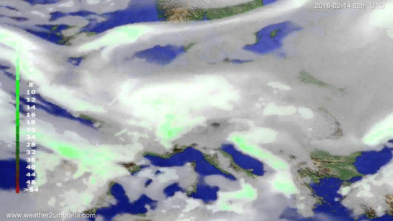 Precipitation forecast Europe 2016-02-10