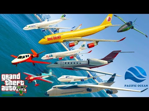 GTA V: Every Airplanes Falling into Deep Pacific Ocean Best Longer Crash and Fail Compilation