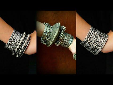 Latest Oxidized Silver Bangles | Oxidized Silver Jewellery | Bohemian Bangles | Tribal Silver Bangle