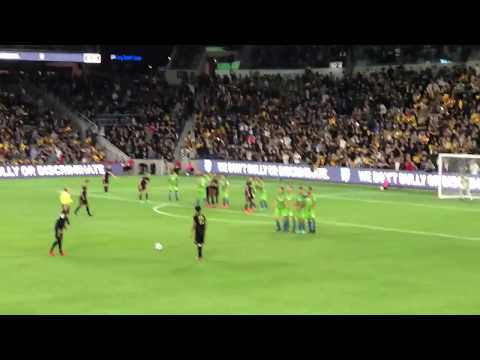 LAFC first home goal vs Seattle Sounders - Laurent Ciman free kick at 90' + 3 - April 29, 2018 - HD