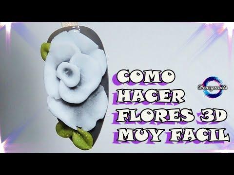 Videos de uñas - HAZ FLORES 3D DE ACRILICO MUY FACIL - tutorial flores 3d acrilic Deasynails