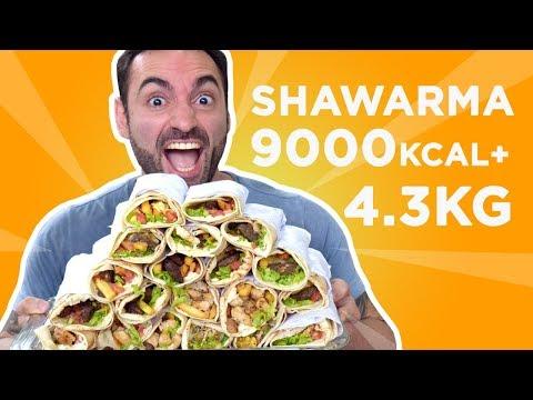 Desafio da comida árabe Shawarma (4.3kg, 9000kcal+)