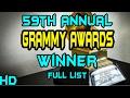 59th Annual GRAMMY Awards Winner Full List