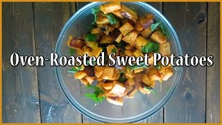 These oven-roasted sweet potatoes are SO EASY! This is a perfect recipe for Paleo, Vegetarian or Vegan beginners or anyone...