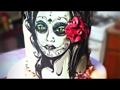 Dia de los Muertos Cake using 3D Edible Image